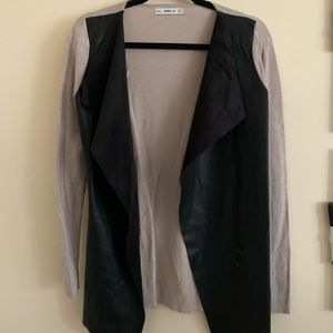 Zara Knit/Pleather Cardigan